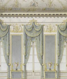 Drawing/watercolor by Rossi, Carlo (1775-1849) Window wall of the White Hall, Mikhailovsky Palace, St Petersburg