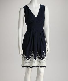 Take a look at this Navy Lace Pleated Surplice Dress by Corey P on #zulily today!
