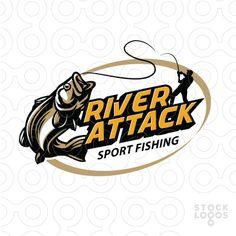 Sport fishing logo by makou , river fishing