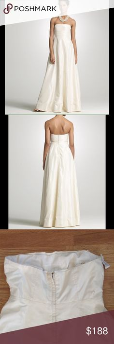 J Crew Strapless A-Line Sabine Wedding Dress J.Crew Strapless Silk Taffeta A-Line Wedding Dress Size 6. Like new never been worn. Simple and elegant in midweight silk taffeta. The strapless silhouette features a fitted bodice with tucks and a full skirt. Gathered horizontal pleats at neckline. Interior corset for added support. Tulle underskirt. Back zip. Fully lined. Falls to floor. J. Crew Dresses Wedding