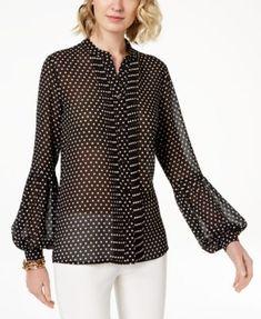 ad6afdcb28775b Michael Kors Pleated Blouson-Sleeve Top & Reviews - Tops - Women - Macy's