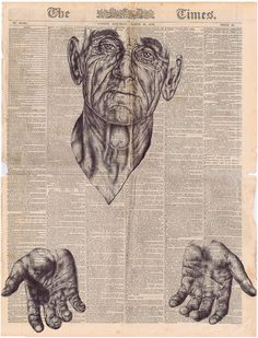 bic biro Drawing on a 1878 newspaper