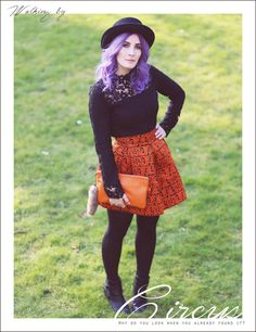 Mode Blog, Like A Riot, Fall Style, Fall Fashion, Autumn Outfit, Herbstlook, purple hair, Orange Skirt, Lace Top