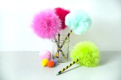 Fluffy Tree Pencil Toppers