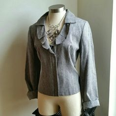 LARRY LEVINE. ...BEAUTIFUL GRAY...ZIPPER BLAZER ...EXCELLENT CONDITION. ..NWT ...BRAND NEW ...NO FLAWS  ...BEAUTIFUL  ...true to its size and color  .. SIZE 10..COULD FIT SIZE.. 12.. AS WELL ...blazer style ...loose feel.  ...2 pic up close ...zipper front ...ruffle design front ...comfortable  ...MTRL...adding soon ...better in person Larry Levine Jackets & Coats Blazers