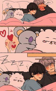 Namjin, Jikook, Yoonmin Fanart, Vkook Fanart, Cute Animal Drawings Kawaii, Cute Drawings, Bts Jin, Bts Jungkook, Bts Funny Moments