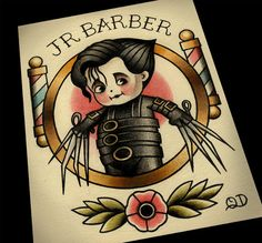 8x10 Junior Barber Tattoo Flash