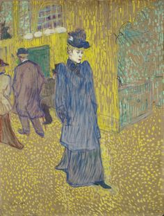 Henri de Toulouse-Lautrec: Jane Avril Leaving the Moulin Rouge, 1892. Oil on board. Wadsworth Athenaeum.