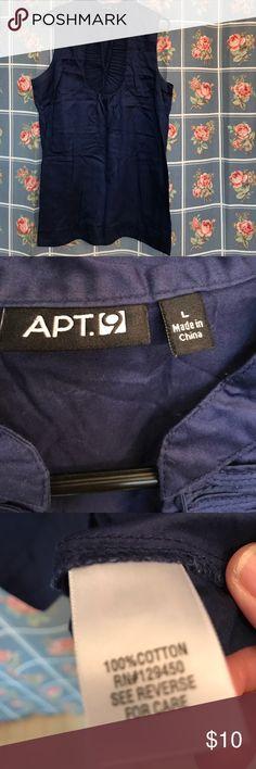Apt.9 navy blue sleeveless top v neck Large nice Apt.9 sleeveless top almost new navy Large Apt.9 Tops