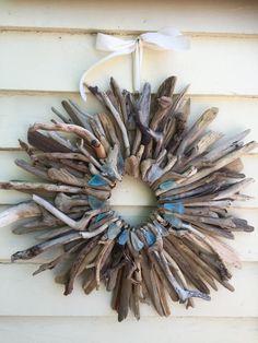 20 Driftwood Wreath with Turquoise Aqua and by SaltyGirlandLongDog