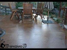 How To Acid Stain a Concrete Patio Floor – Video - Alles über Gärten Concrete Patios, Acid Stained Concrete, Concrete Porch, Concrete Floors, Diy Patio, Backyard Patio, Outdoor Pergola, Pergola Ideas, Patio Ideas