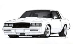 1986 Buick Grand National Drawing by Vertualissimo on DeviantArt Weird Cars, Cool Cars, Car Drawing Pencil, Cool Car Drawings, Buick Grand National, Cars Coloring Pages, Colouring Pics, Automobile, Buick Regal