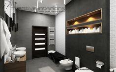 Projekt łazienki Inventive Interiors - grafitowe i szare płytki oraz biały kamień w łazience - wnęki w zabudowie geberitu - oświetlenie w łazience