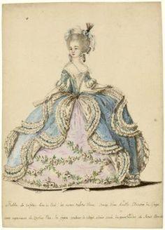 [Figure de mode : dame en robe de cour à la Française avec jupe garnie de guirlandes] | Centre de documentation des musées - Les Arts Décoratifs