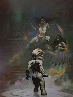 Vintage Frank Frazetta Art PARADOX 1975 Full Color Plate Fantasy GGA Nude Angel #Vintage