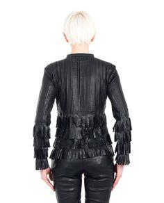 "Black leather jacket ""Fringe Short""  mandarin collar long sleeves  macramé details with contrast fringe and studs hook closure free T-shirt included 100% Leather"