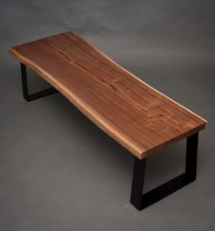 YOUR CUSTOM Live Edge Black Walnut BENCH  Natural  by ElpisWorks, $697.00 Everett, WA