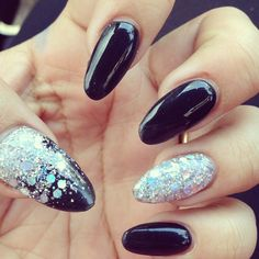 Black and silver acrylic nails almond shape acrylic nails