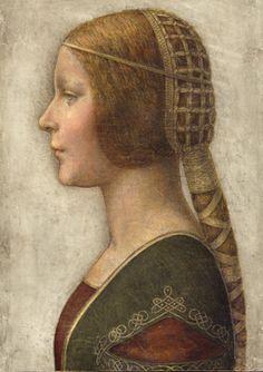 DA VINCI Leonardo (1452 - 1519) - recenlty identified as being a unique work of Da Vinci representing LUCRETIA BORGIA (page from a book she got as a wedding gift) - full of technical experiments