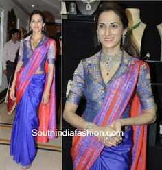 Trendy Blouse Designs with Silk Sarees- South India Fashion - - Shilpa Reddy has donned some trendy blouses with silk traditional sarees. Here are a few such trendy blouse designs of Shilpa Reddy with silk sarees. Designer Blouse Patterns, Saree Blouse Patterns, Sari Blouse Designs, Dress Designs, Corset Blouse, Collar Blouse, Blouse Neck, Long Blouse, Mary Janes