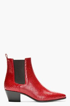 Shop now: Saint Laurent Red Snakeskin Chelsea Boots