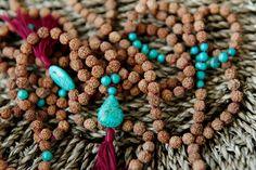 Turquoise Rudraksha Mala Beads