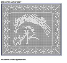 258 Horse Magnificent Filet Crochet Doily Afghan Pattern new border | CROCHETBYDASMADE - Patterns on ArtFire