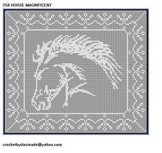 258 Horse Magnificent Filet Crochet Doily Afghan Pattern new border | CROCHETBYDASMADE - Patterns on ArtFire