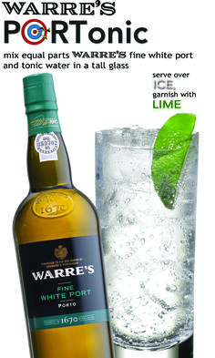 #Warre's PORTonic - mix equal parts #Warre's Fine White Port and tonic water in a tall glass, serve over ice and garnish with lime. #winecocktail #Symington Family Wines
