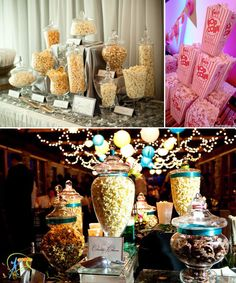 popcorn bar .... I love this idea! Especially for an Oscars Party, a backyard movie night, or a friends and family video night!