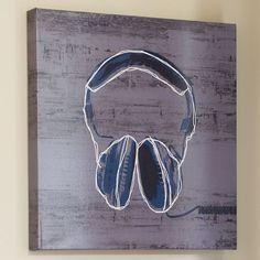 Headphones Wall Art | PBteen...too many $$ but I love the idea!