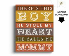 Boys Wall Art  There's this boy he stole my by PaperBeeDesigns, $8.00