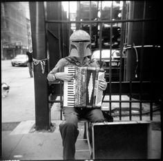 Just another day in New York--Boba Fett playing the accordion