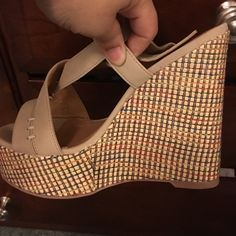 Charlotte Russe tan wedge sandals Tan, never worn soft faux nubuck finish. Shoes Sandals