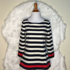 Ann Taylor Petite Striped Pinte Boatneck Top Boldly striped in soft ponte, this is the season's have-to-have piece: beautifully fitted and travel-ready, popped with a hit of bright color. Boatneck. 3/4 sleeves. NWOT Ann Taylor Tops Blouses