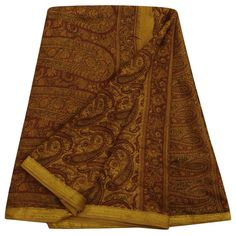 Vintage Paisley Printed Pure Silk Saree Yellow Dress Making Sari Craft Fabric #Vintageandyou #Sari #CausalWearCrafting