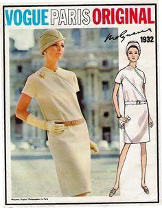 1960s STRIKING Molyneux Diagonal Seam Dress Pattern VOGUE Paris Original 1932 Day or After Five Bust 34 Vintage Sewing Pattern UNCUT