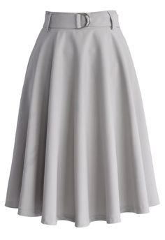 Neutral Grey Belted A-line Skirt - CHICWISH SKIRT COLLECTION - Skirt - Bottoms - Retro, Indie and Unique Fashion