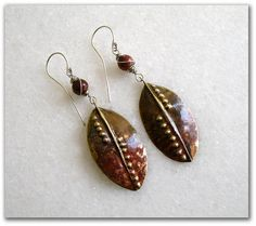 Bronze hammered earrings with...