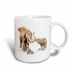 3dRose Elephant Mother and Child Trumpeting, Ceramic Mug, 11-ounce