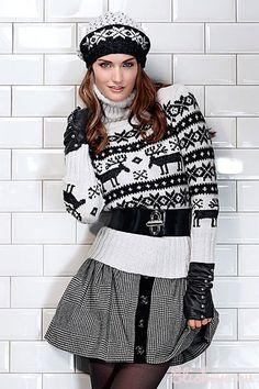 Женский пуловер с жаккардовым узором вязаный спицами   Блог elisheva.ru