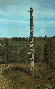 Totem pole (old color photo, location unknown)