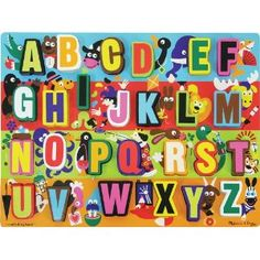 Melissa and Doug Puzzles. Large format and chunky pieces for little hands. Great beginner Alphabet puzzle using animals.