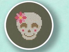 Smiling Skull with Flower. Cross Stitch PDF Pattern. $3.50, via Etsy.