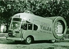 Built for the 1953 Tour de France, this vehicle on a Renault base is designed to promote Valda menthol pastilles in its round tin.