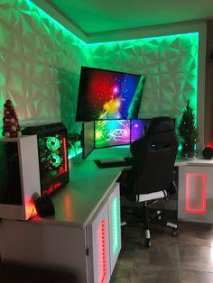 Computer Gaming Room, Gaming Room Setup, Computer Setup, Cool Gaming Setups, Best Gaming Setup, Gamer Setup, Pc Setup, Computer Mouse, Gamer Bedroom
