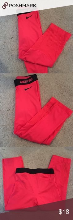 Nike Pro Capris NWOT. Bought these Nike Pros from the Nike town in LA and then realized they were XS not S. So I removed the tags but I have never worn them! Nike Pants Capris