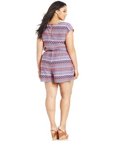 Stevie and Lindsay Plus Size Short-Sleeve Printed Romper - Jumpsuits & Rompers - Plus Sizes - Macy's