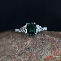 Emerald & White Sapphire Celtic Knot Engagement Ring 2ct 8x6mm Custom 10k 14k 18k White Yellow Rose Gold Platinum Wedding Anniversary