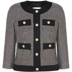 Pierre Balmain - Cotton-blend Tweed Jacket ($453) ❤ liked on Polyvore featuring outerwear, jackets, black, pierre balmain jacket, snap jacket, tailored jacket, tweed jacket and rock and roll jacket